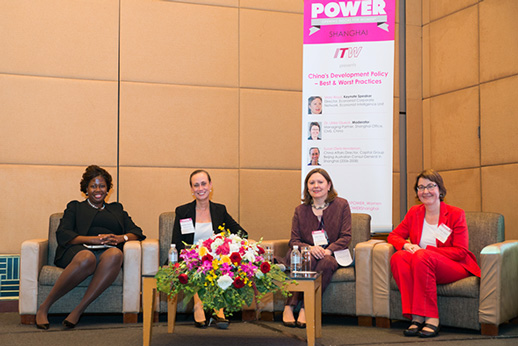 (L-R) Deirdre Joy Smith, Founder & CEO, POWER: Opening Doors for Women, Susan Dietz-Henderson, China Affairs Director, Capital Group Beijing, Australian Consul-General in Shanghai (2006-2008), Mary Boyd, Director, Economist Corporate Network, Economist Intelligence Unit, Dr. Ulrike Glueck, Managing Partner, Shanghai Office, CMS, China