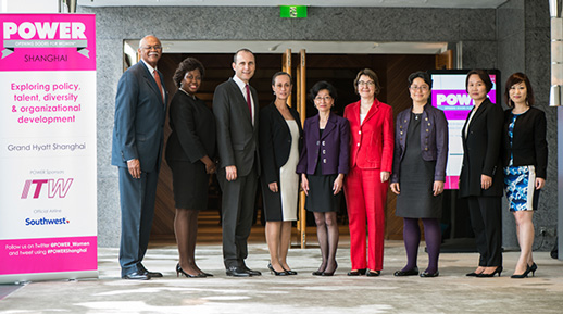 (L-R) H. James Dallas, Senior Vice President, Quality & Operations and CIO, Medtronic, Inc. (retired), Deirdre Joy Smith, Founder & CEO, POWER: Opening Doors for Women, Hanscom Smith, United States Consul-General in Shanghai, Susan Dietz-Henderson, China Affairs Director, Capital Group Beijing, Australian Consul-General in Shanghai (2006-2008), Helen Yang, Managing Director, Asia Pacific Customer Service Transformation, DuPont China Holding Co., Ltd., Mary Boyd, Director, Economist Corporate Network, Economist Intelligence Unit, Liza L.S. Mark, Partner, Chief Representative and Administrative Partner, Haynes and Boone, LLP, Mi-Joung Son, Business Unit Manager, ITW Performance Polymers and Fluids, Asia Pacific, Linda Di, Senior Director, Human Resources, EMC Asia Pacific & Japan Global Services