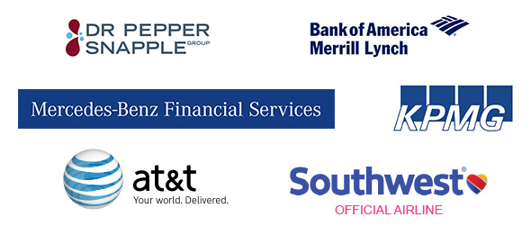 Dr Pepper Snapple Group, KPMG, Mecerdes Benz Finacial Group, AT&T, Southwest (official airlines), Bank of America